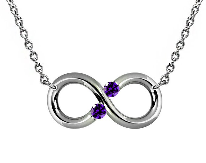 Amethyst Tension Set Infinity Necklace in Stainless steel by Taormina Jewelry