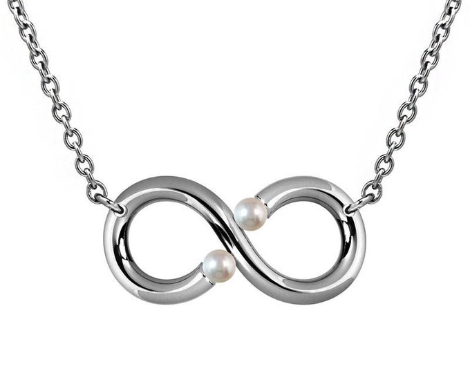 Infinity Necklace with White Pearls Tension Set Steel Stainless by Taormina Jewelry