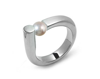 Elegant White Pearl Ring Tension Set in Steel Stainless by Taormina Jewelry