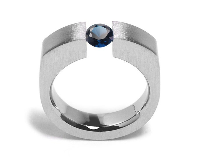 1ct Blue Sapphire Tension Set Men's Ring in Stainless Steel