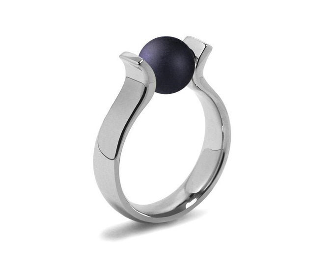 High setting Lyre shaped Ring with Tension Set  Obsidian in Stainless Steel by Taormina Jewelry