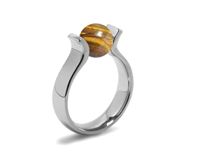 High setting Lyre shaped Ring with Tension Set Tiger Eye in Stainless Steel
