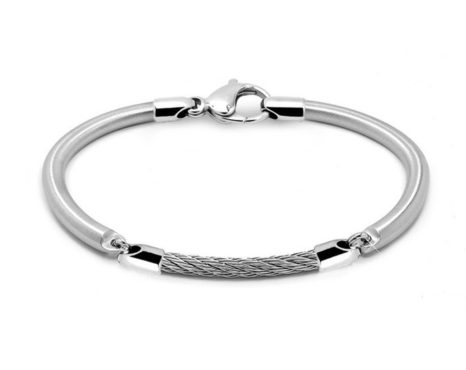 Stainless Steel Rod & Cable Link Bracelet Brushed and Polished Finish by Taormina Jewelry