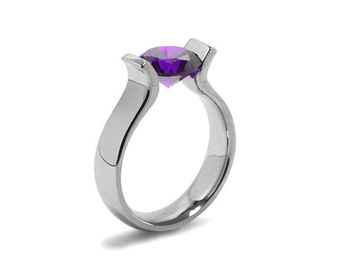 2ct Amethyst Lyre shaped Tension Set Ring in Stainless Steel by Taormina Jewelry