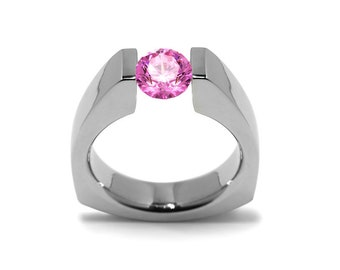 1.5ct Pink Sapphire Triangular Tension Set Ring in Stainless Steel Modern Style by Taormina Jewelry