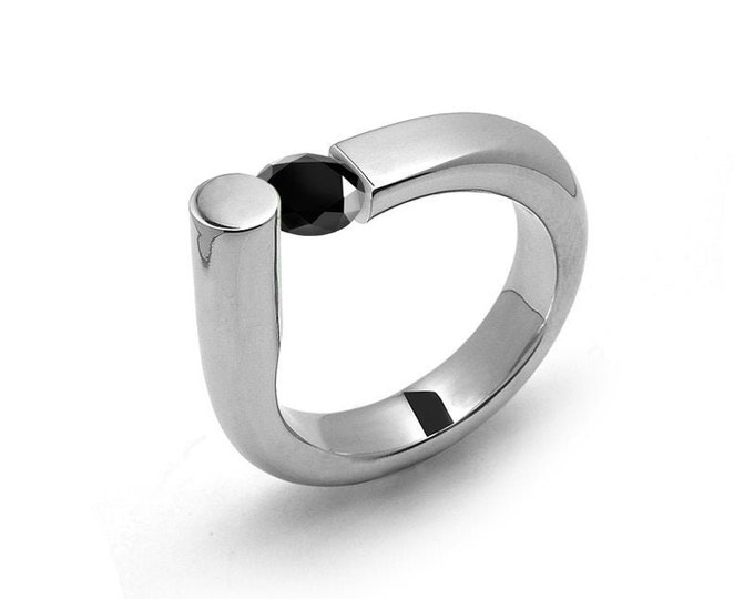 0.75 Black Onyx Ring Tension Set in Stainless Steel