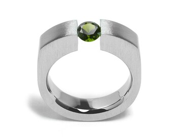 1ct Peridot Tension Set Men's Ring in Stainless Steel by Taormina Jewelry