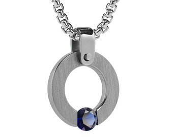 Blue Sapphire Tension Set Round Pendant in Stainless Steel