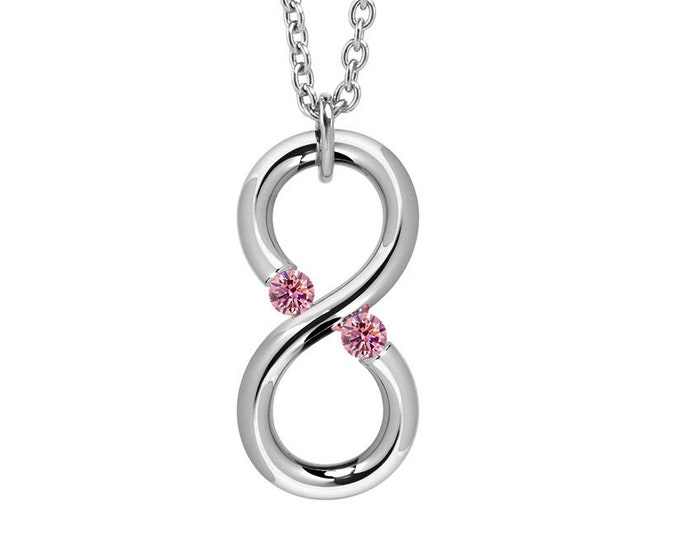 Pink Sapphire Modern Infinity Pendant Tension Set Steel Stainless by Taormina Jewelry