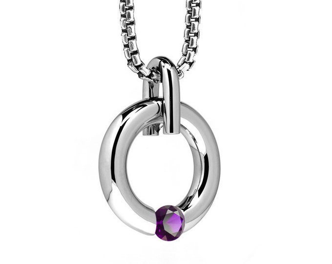 Amethyst Tension Set Round Pendant in Stainless Steel by Taormina Jewelry