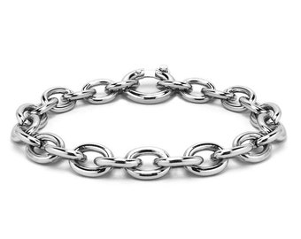 Oval link Chain Bracelet in Stainless Steel by Taormina Jewelry