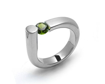 0.75 Peridot Ring Tension Set in Stainless Steel by Taormina Jewelry