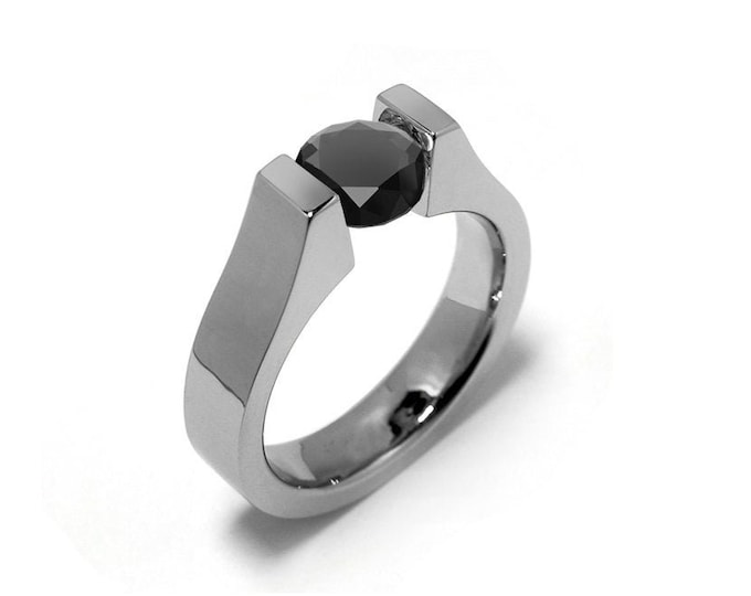 1.5ct Black Onyx Tension Set Modern Ring Stainless Steel by Taormina Jewelry