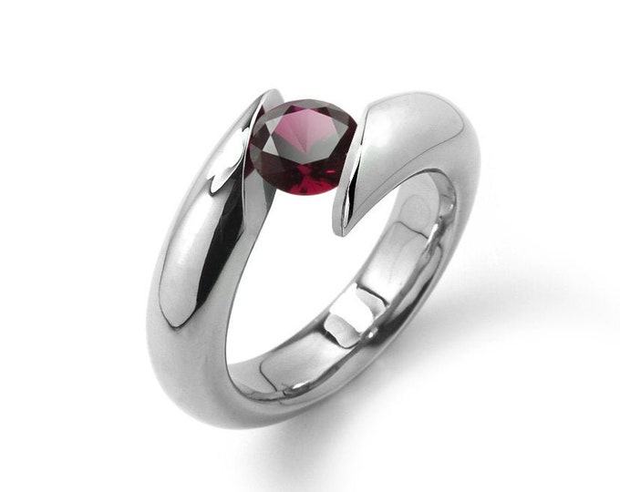 1ct Garnet Bypass Tension Set Ring in Stainless Steel