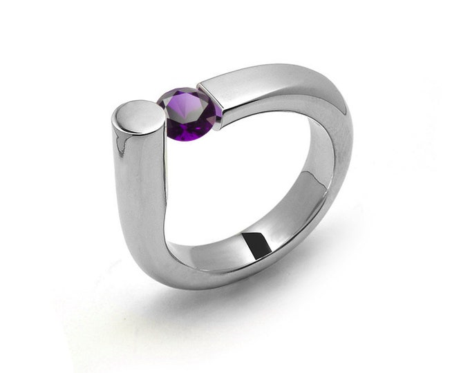 0.75 Amethyst Ring Tension Set in Stainless Steel by Taormina Jewelry