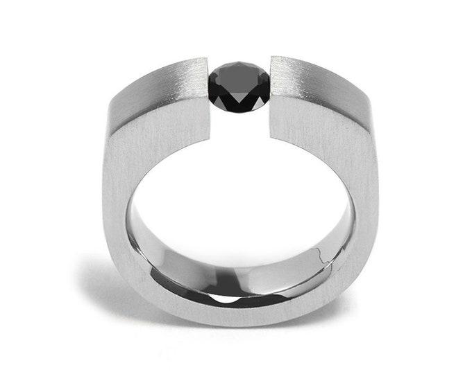 1ct Black Diamond Tension Set Men's Ring in Stainless Steel by Taormina Jewelry