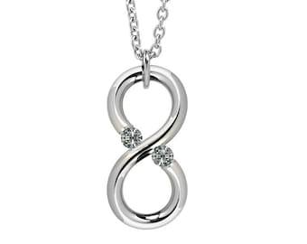 White Sapphire Modern Infinity Pendant Tension Set Steel Stainless by Taormina Jewelry