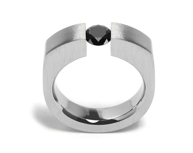 1ct Black Onyx Tension Set Men's Ring in Stainless Steel