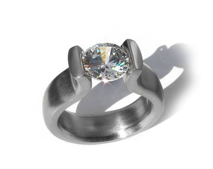 Tension Set Engagement Ring with 2ct, 1.5ct and 1ct Moissanite and Stainless Steel Mounting