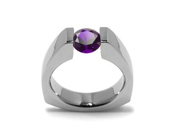 1.5ct Amethyst Triangular Shaped Tension Set Ring by Taormina Jewelry