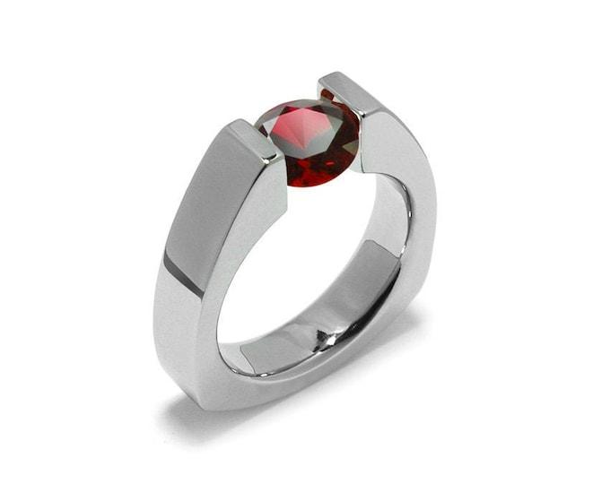 1.5ct Garnet Triangular Shaped Tension Set Ring