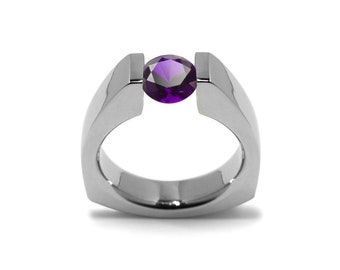 1ct Amethyst Triangular Tension Set Ring in Stainless Steel Modern Style by Taormina Jewelry