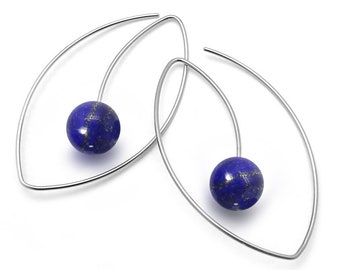 Lapis Lazuli Drop Oval wire Earrings in Stainless Steel