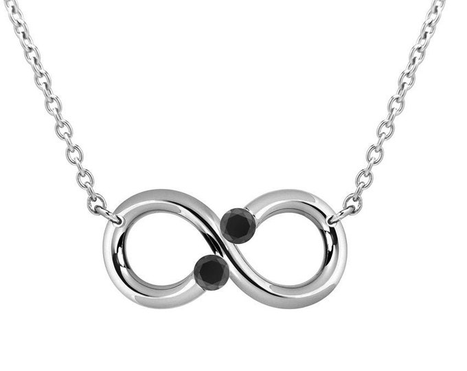 Infinity Horizontal Necklace with Two Tension Set Black Onyx in Stainless Steel by Taormina Jewelry