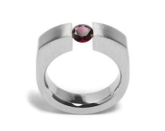 1ct Garnet Tension Set Men's Ring in Stainless Steel