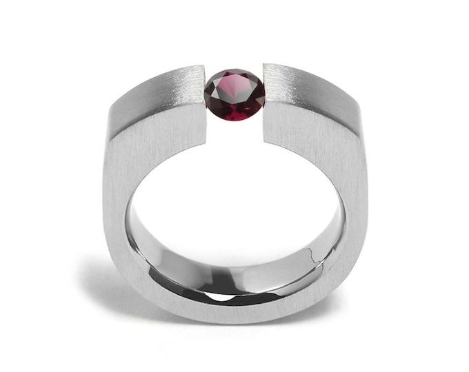1ct Garnet Tension Set Men's Ring in Stainless Steel by Taormina Jewelry