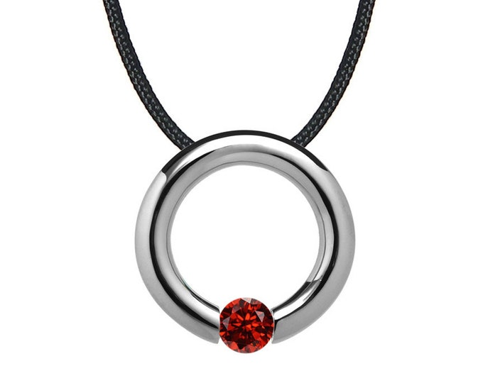 Garnet Tension Set Circle Pendant in Stainless Steel by Taormina Jewelry