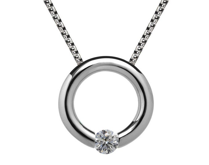 White Sapphire Tension Set Necklace in Stainless Steel