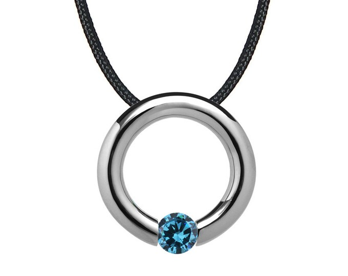 Blue Topaz Tension Set Circle Pendant in Stainless Steel by Taormina Jewelry