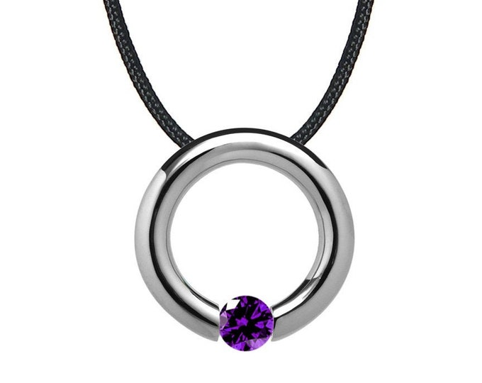 Amethyst Tension Set Circle Pendant in Stainless Steel by Taormina Jewelry