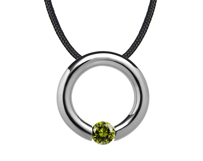 Peridot Tension Set Circle Pendant in Stainless Steel by Taormina Jewelry