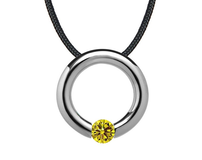 Yellow Sapphire Tension Set Circle Pendant in Stainless Steel by Taormina Jewelry
