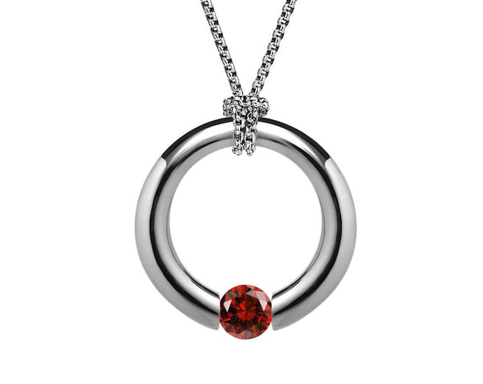 Garnet Tension Set Pendant in Stainless Steel by Taormina Jewelry