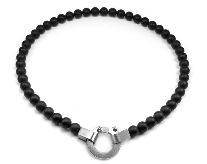 Obsidian 8mm Beads Necklace Modern Design