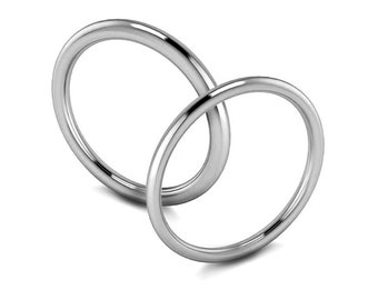 1mm 1.5mm and 2mm Halo Wedding Simple Thin Ring Band in Polished or Satin Brushed Finish Stainless Steel