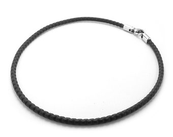 Charm Necklace in Black PVC Coated Box Chain and Lobster Clasp