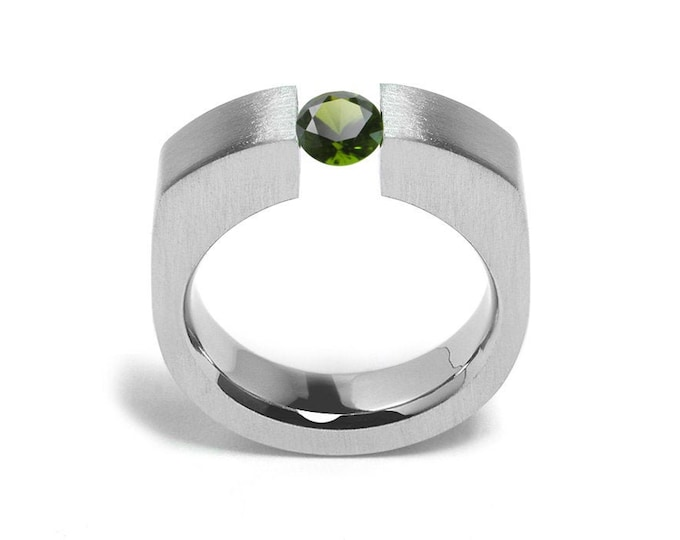 1.5ct Peridot Tension Set Men's Ring in Stainless Steel
