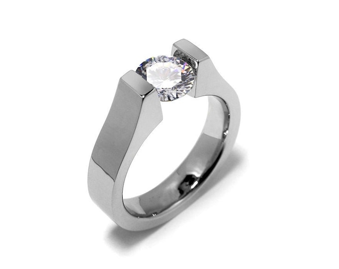 2ct White Sapphire High setting Tension Set Engagement Ring by Taormina Jewelry