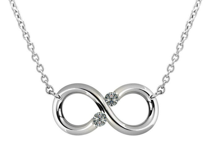 Infinity Necklace with White Sapphires Tension Set Steel Stainless by Taormina Jewelry