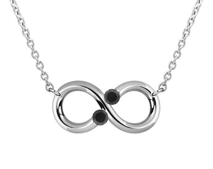 Taormina Black Diamond Infinity Necklace Tension Set Steel Stainless by Taormina Jewelry