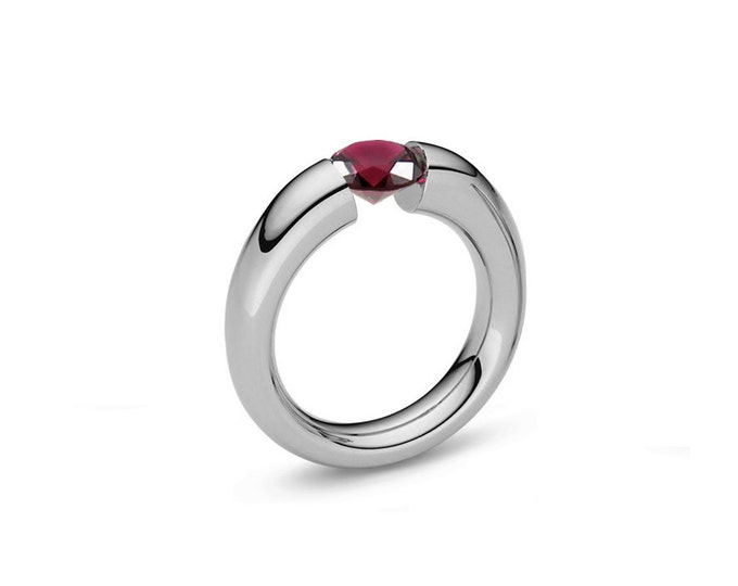 Garnet Tension Set Tapered Engagement Ring in Stainless Steel