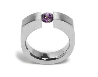 1ct Amethyst Tension Set Men's Ring in Stainless Steel by Taormina Jewelry