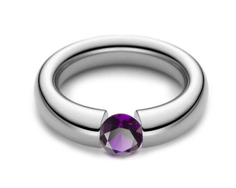 1.5ct Amethyst Tension Set Tapered Engagement Ring in Stainless Steel