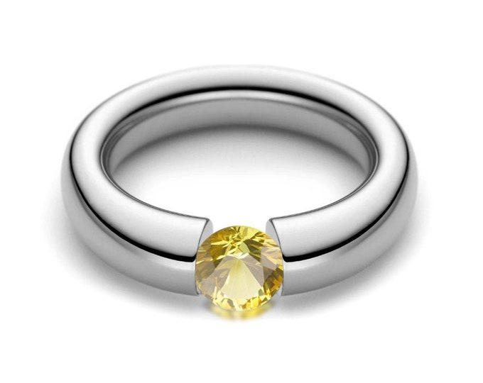 1ct Yellow Sapphire Tension Set Tapered Engagement Ring in Stainless Steel