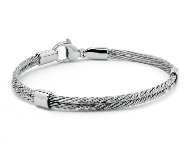 Double Row Cable Bracelet in Stainless Steel with Lobster Clasp