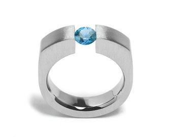 1ct Blue Topaz Tension Set Men's Ring in Stainless Steel